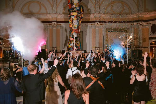 confetti canon and live band at a Please Touch Museum wedding in Philadelphia